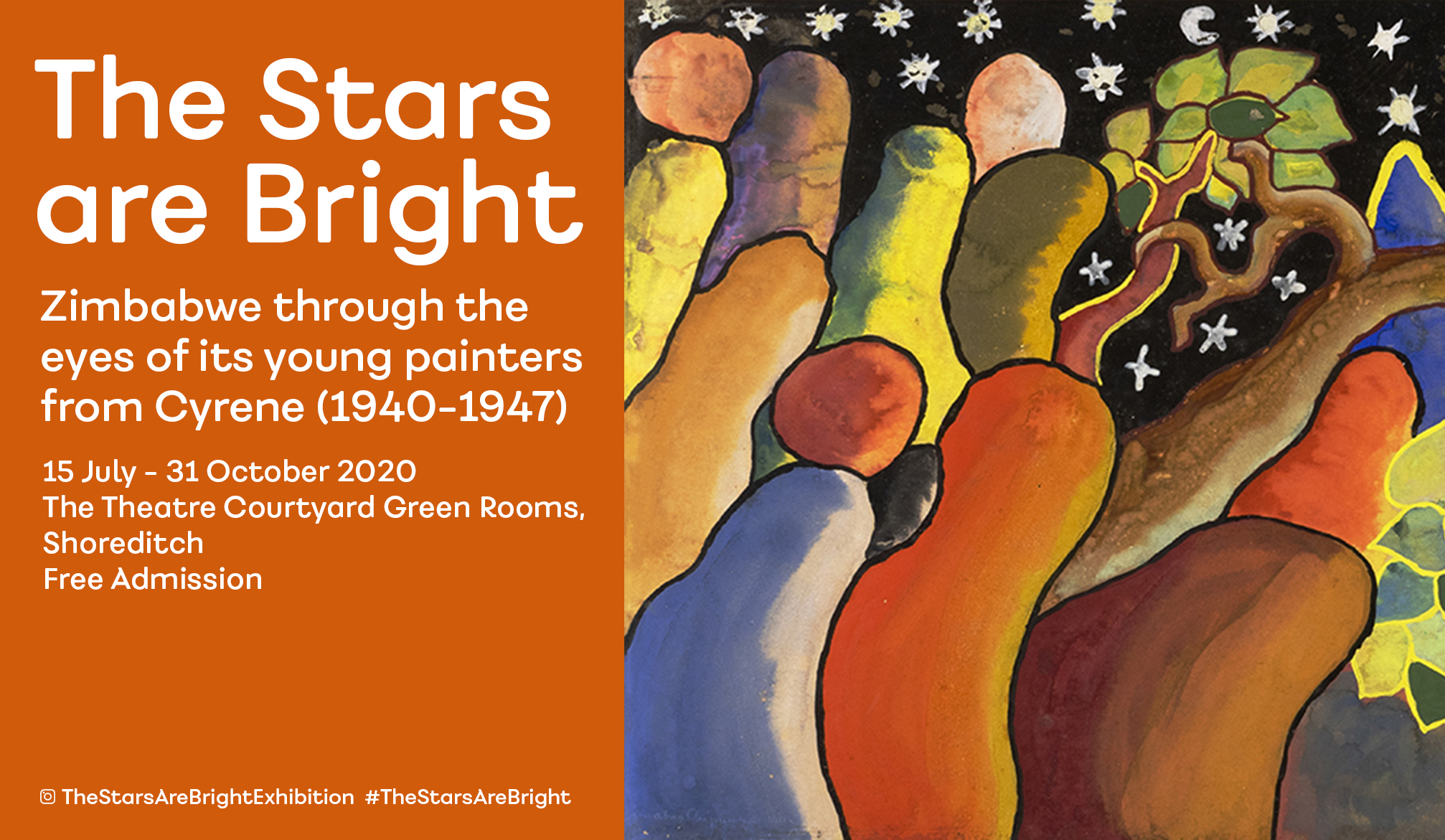 The Stars are Bright: Zimbabwe through the eyes of its young painters from Cyrene (1940-1947), 15 July – 30 September 2020, The Theatre Courtyard Green Rooms